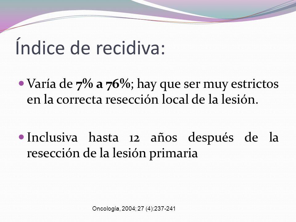 Índice de recidiva: Varía de 7% a 76%; hay que ser muy estrictos en la correcta resección local de la lesión. Inclusiva hasta 12 años después de la re