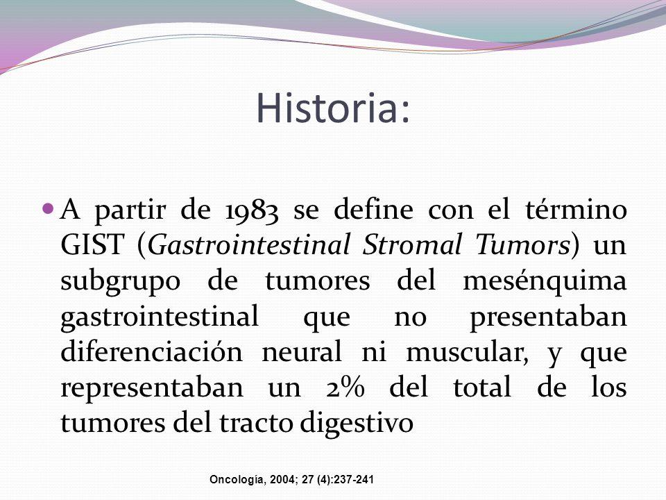 Historia: A partir de 1983 se define con el término GIST (Gastrointestinal Stromal Tumors) un subgrupo de tumores del mesénquima gastrointestinal que