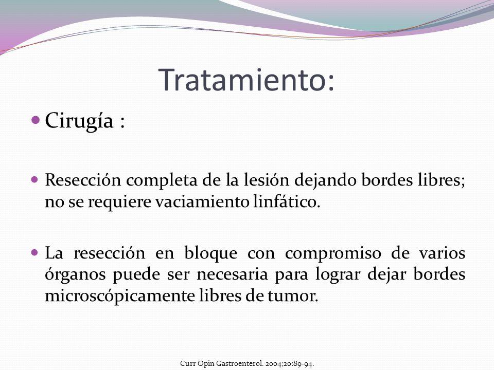 Tratamiento: Cirugía : Resección completa de la lesión dejando bordes libres; no se requiere vaciamiento linfático. La resección en bloque con comprom