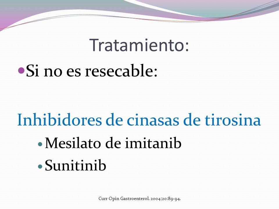 Tratamiento: Si no es resecable: Inhibidores de cinasas de tirosina Mesilato de imitanib Sunitinib Curr Opin Gastroenterol. 2004;20:89-94.