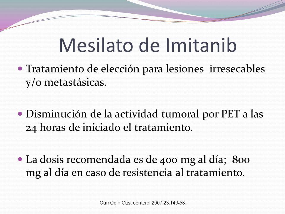 Mesilato de Imitanib Tratamiento de elección para lesiones irresecables y/0 metastásicas. Disminución de la actividad tumoral por PET a las 24 horas d