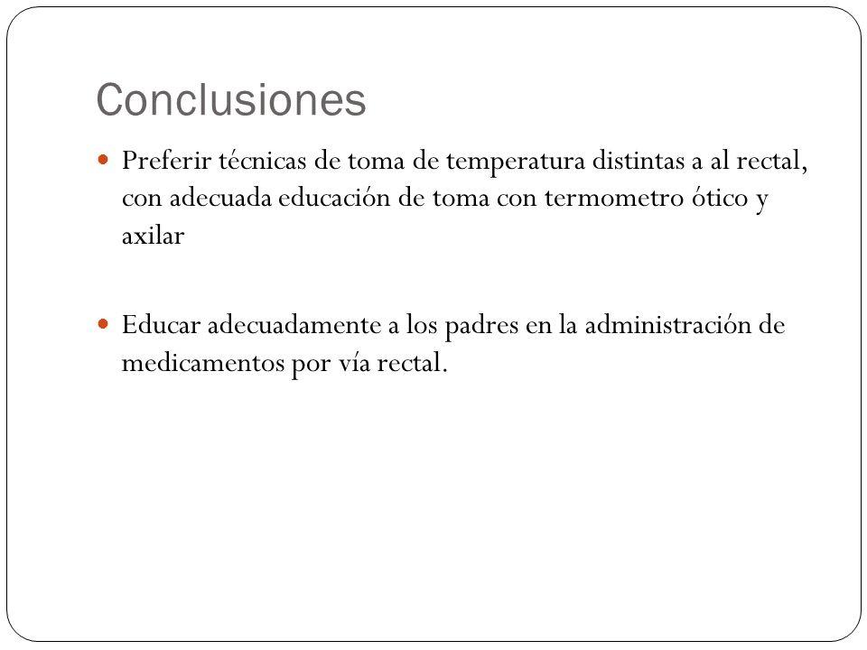 Conclusiones Preferir técnicas de toma de temperatura distintas a al rectal, con adecuada educación de toma con termometro ótico y axilar Educar adecu
