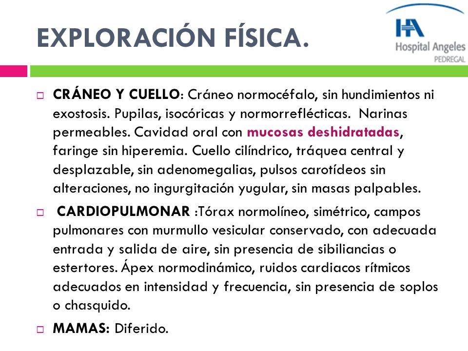 EXPLORACIÓN FÍSICA. CRÁNEO Y CUELLO: Cráneo normocéfalo, sin hundimientos ni exostosis. Pupilas, isocóricas y normorreflécticas. Narinas permeables. C