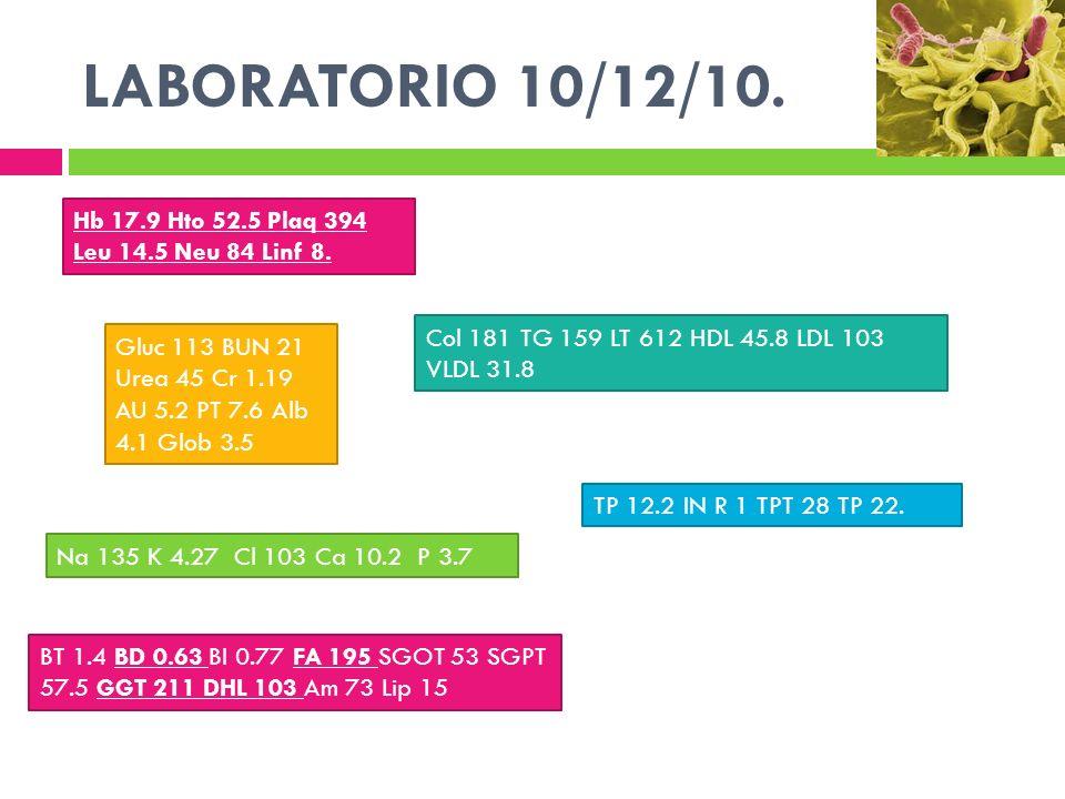 LABORATORIO 10/12/10. Hb 17.9 Hto 52.5 Plaq 394 Leu 14.5 Neu 84 Linf 8. Gluc 113 BUN 21 Urea 45 Cr 1.19 AU 5.2 PT 7.6 Alb 4.1 Glob 3.5 Na 135 K 4.27 C
