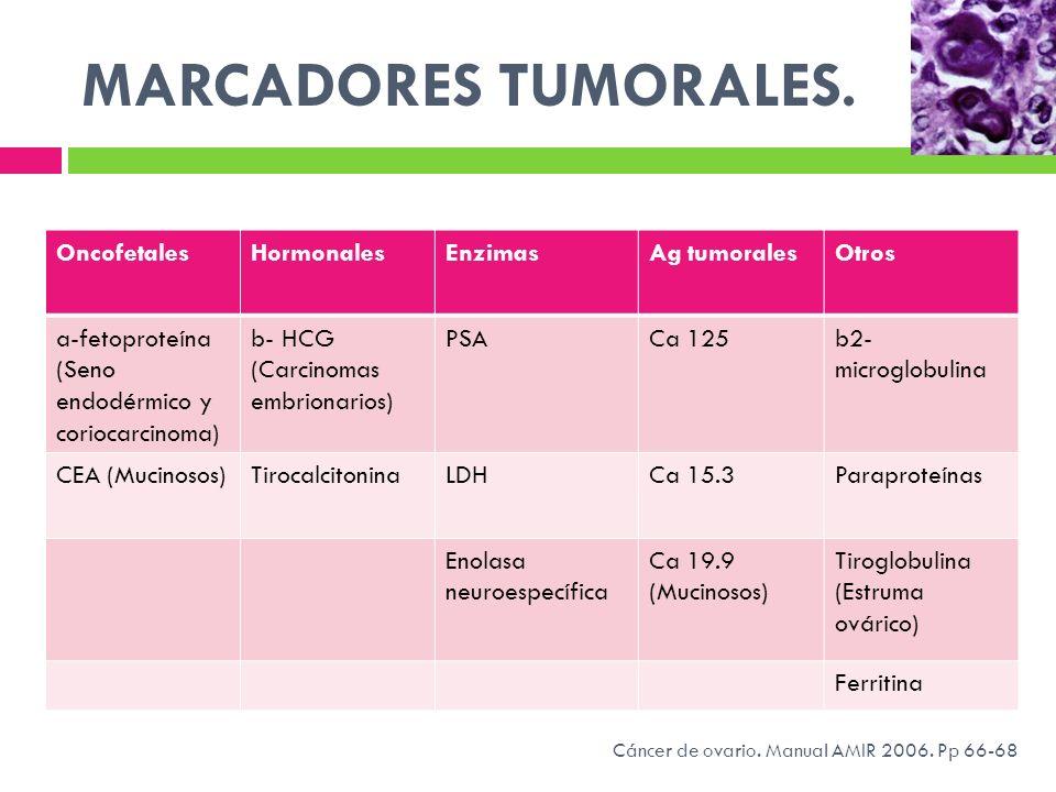 MARCADORES TUMORALES. OncofetalesHormonalesEnzimasAg tumoralesOtros a-fetoproteína (Seno endodérmico y coriocarcinoma) b- HCG (Carcinomas embrionarios
