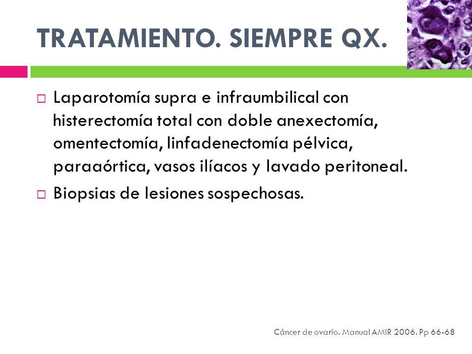 TRATAMIENTO. SIEMPRE QX. Laparotomía supra e infraumbilical con histerectomía total con doble anexectomía, omentectomía, linfadenectomía pélvica, para