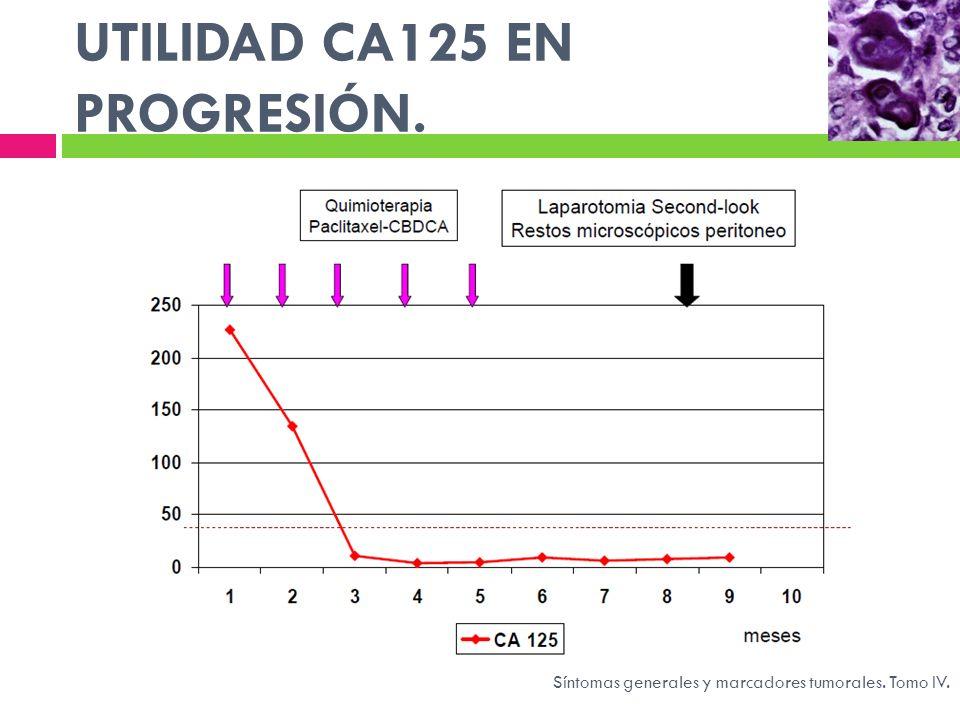 UTILIDAD CA125 EN PROGRESIÓN. Síntomas generales y marcadores tumorales. Tomo IV.