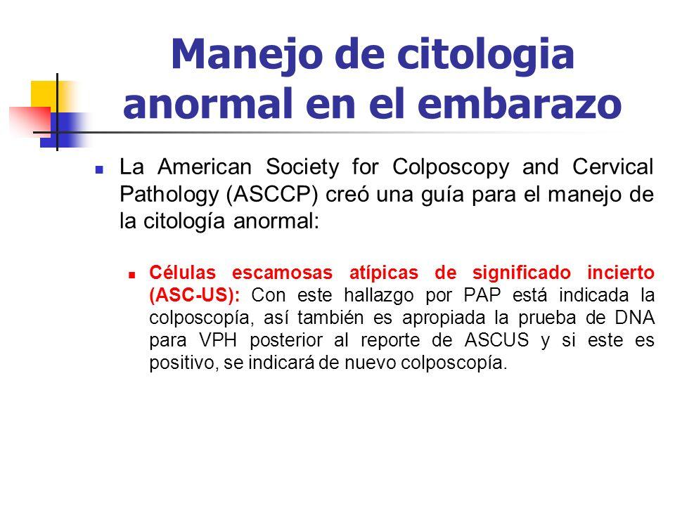 Manejo de citologia anormal en el embarazo La American Society for Colposcopy and Cervical Pathology (ASCCP) creó una guía para el manejo de la citolo