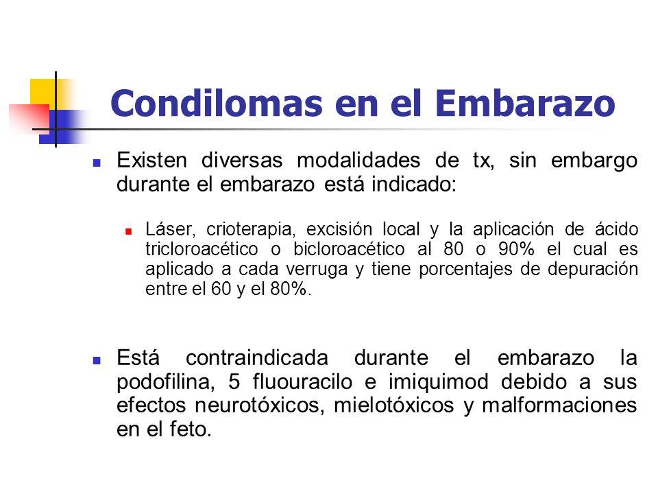 Condilomas en el Embarazo Existen diversas modalidades de tx, sin embargo durante el embarazo está indicado: Láser, crioterapia, excisión local y la a
