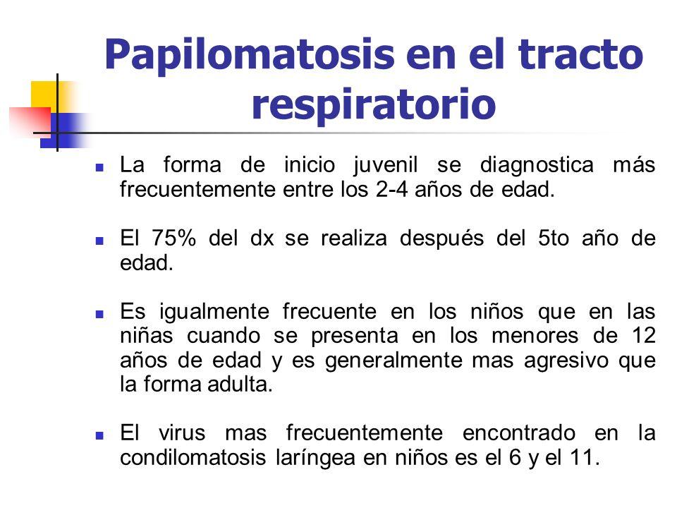 Papilomatosis en el tracto respiratorio La forma de inicio juvenil se diagnostica más frecuentemente entre los 2-4 años de edad. El 75% del dx se real