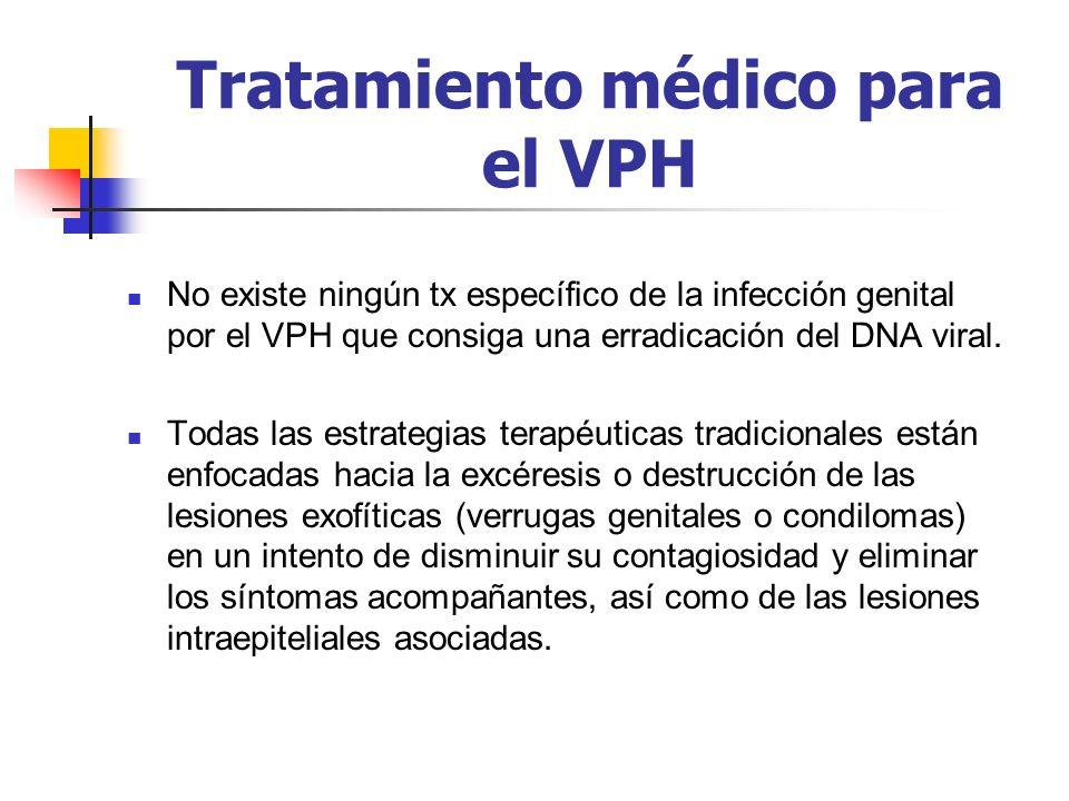 Tratamiento médico para el VPH No existe ningún tx específico de la infección genital por el VPH que consiga una erradicación del DNA viral. Todas las