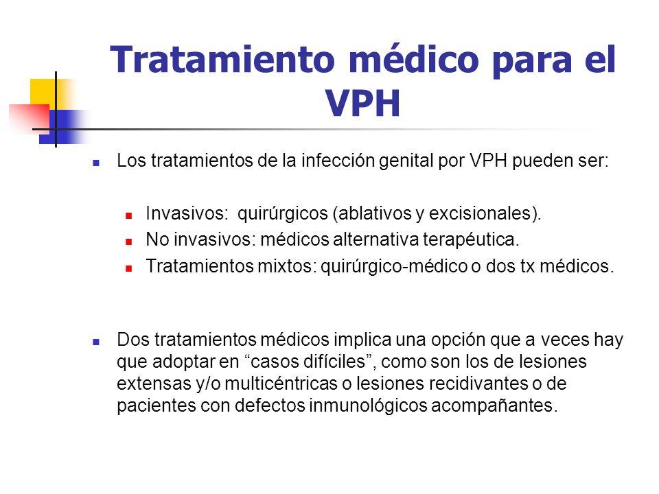 Tratamiento médico para el VPH Los tratamientos de la infección genital por VPH pueden ser: Invasivos: quirúrgicos (ablativos y excisionales). No inva