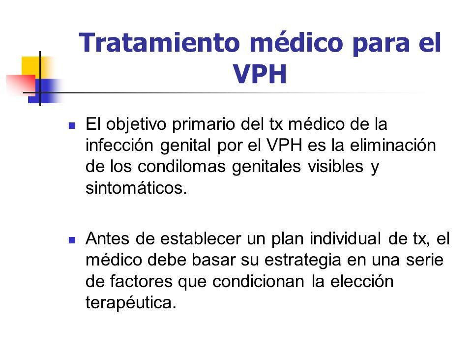 Tratamiento médico para el VPH El objetivo primario del tx médico de la infección genital por el VPH es la eliminación de los condilomas genitales vis