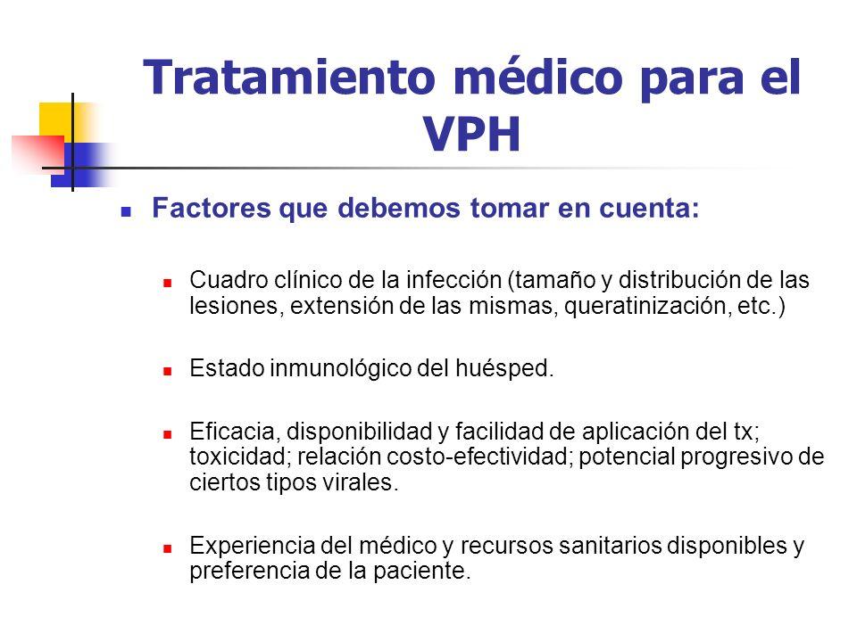 Tratamiento médico para el VPH Factores que debemos tomar en cuenta: Cuadro clínico de la infección (tamaño y distribución de las lesiones, extensión
