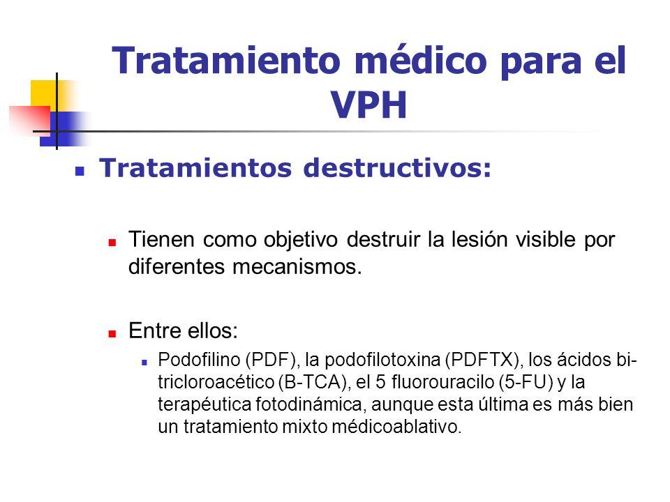 Tratamiento médico para el VPH Tratamientos destructivos: Tienen como objetivo destruir la lesión visible por diferentes mecanismos. Entre ellos: Podo