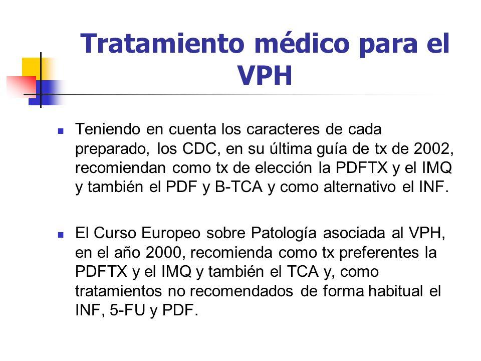 Tratamiento médico para el VPH Teniendo en cuenta los caracteres de cada preparado, los CDC, en su última guía de tx de 2002, recomiendan como tx de e