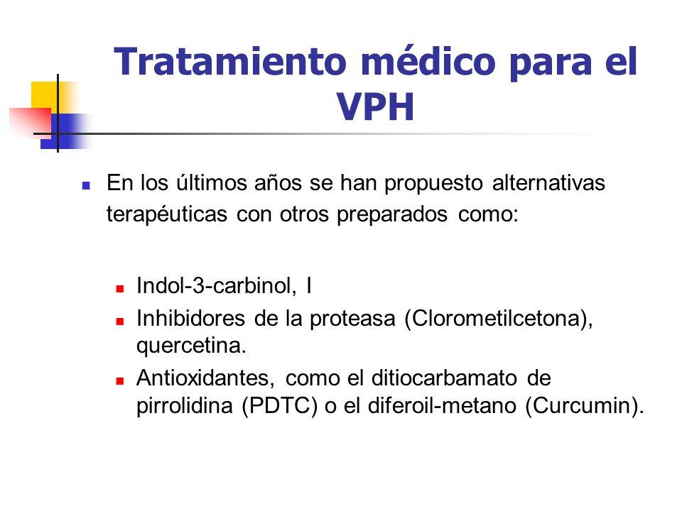 Tratamiento médico para el VPH En los últimos años se han propuesto alternativas terapéuticas con otros preparados como: Indol-3-carbinol, I Inhibidor