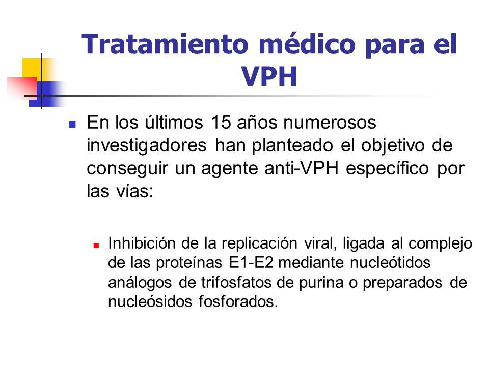 Tratamiento médico para el VPH En los últimos 15 años numerosos investigadores han planteado el objetivo de conseguir un agente anti-VPH específico po