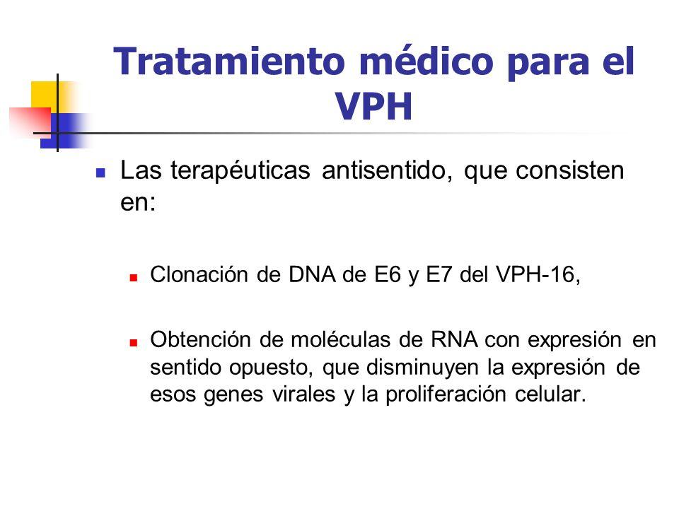 Tratamiento médico para el VPH Las terapéuticas antisentido, que consisten en: Clonación de DNA de E6 y E7 del VPH-16, Obtención de moléculas de RNA c
