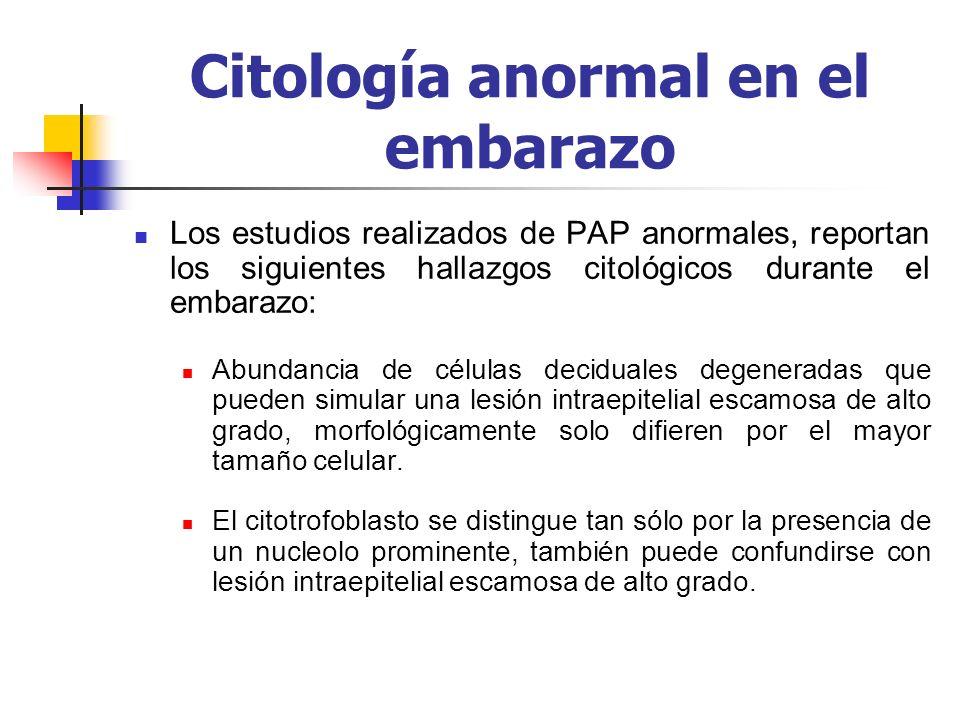 Citología anormal en el embarazo Los estudios realizados de PAP anormales, reportan los siguientes hallazgos citológicos durante el embarazo: Abundanc