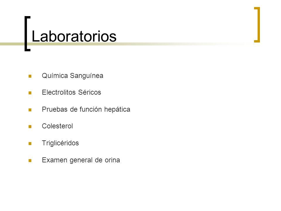 Laboratorios Química Sanguínea Electrolitos Séricos Pruebas de función hepática Colesterol Triglicéridos Examen general de orina