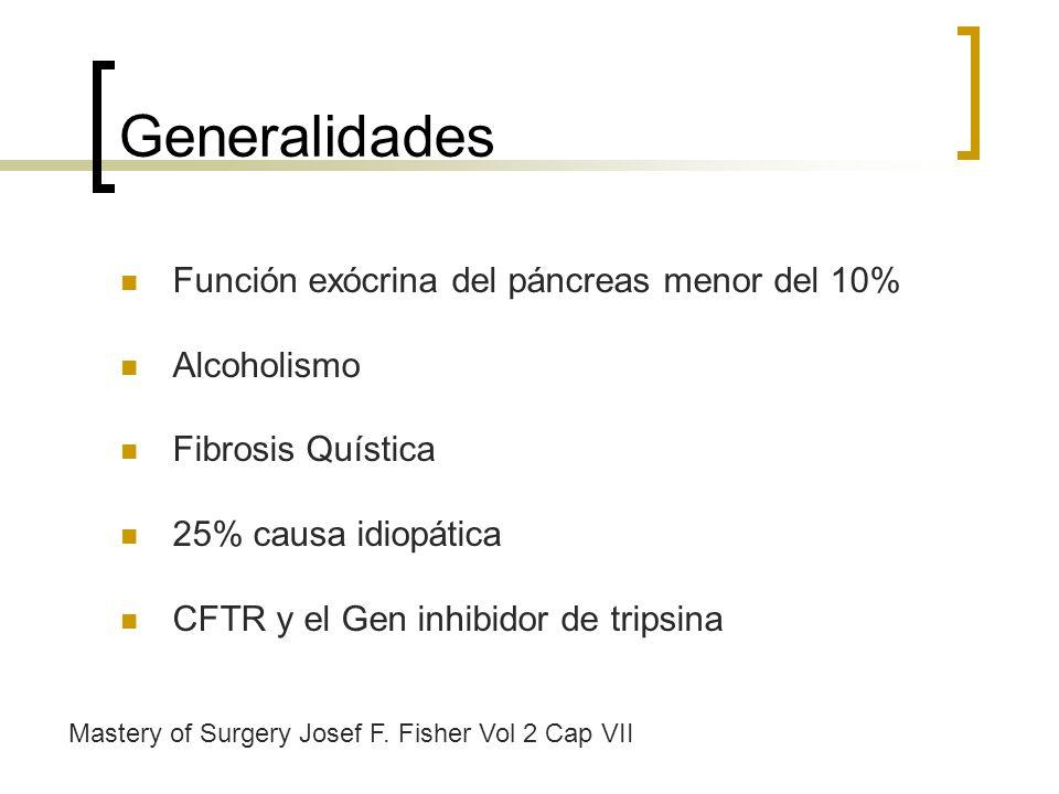 Generalidades Función exócrina del páncreas menor del 10% Alcoholismo Fibrosis Quística 25% causa idiopática CFTR y el Gen inhibidor de tripsina Maste
