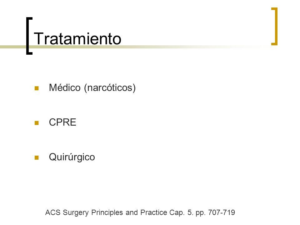 Tratamiento Médico (narcóticos) CPRE Quirúrgico ACS Surgery Principles and Practice Cap. 5. pp. 707-719