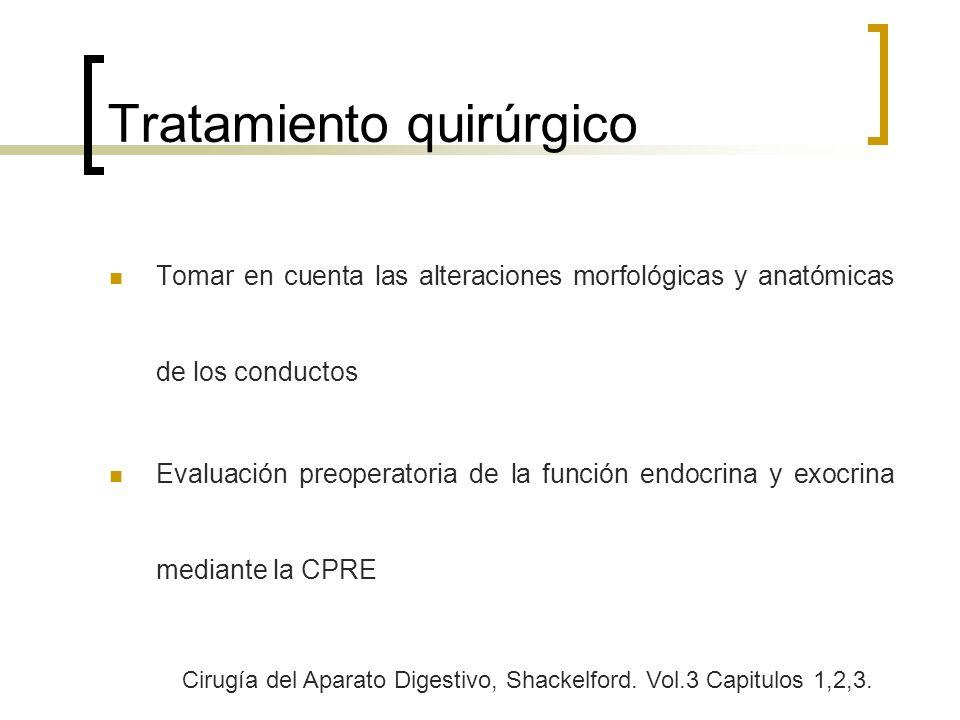 Tratamiento quirúrgico Tomar en cuenta las alteraciones morfológicas y anatómicas de los conductos Evaluación preoperatoria de la función endocrina y
