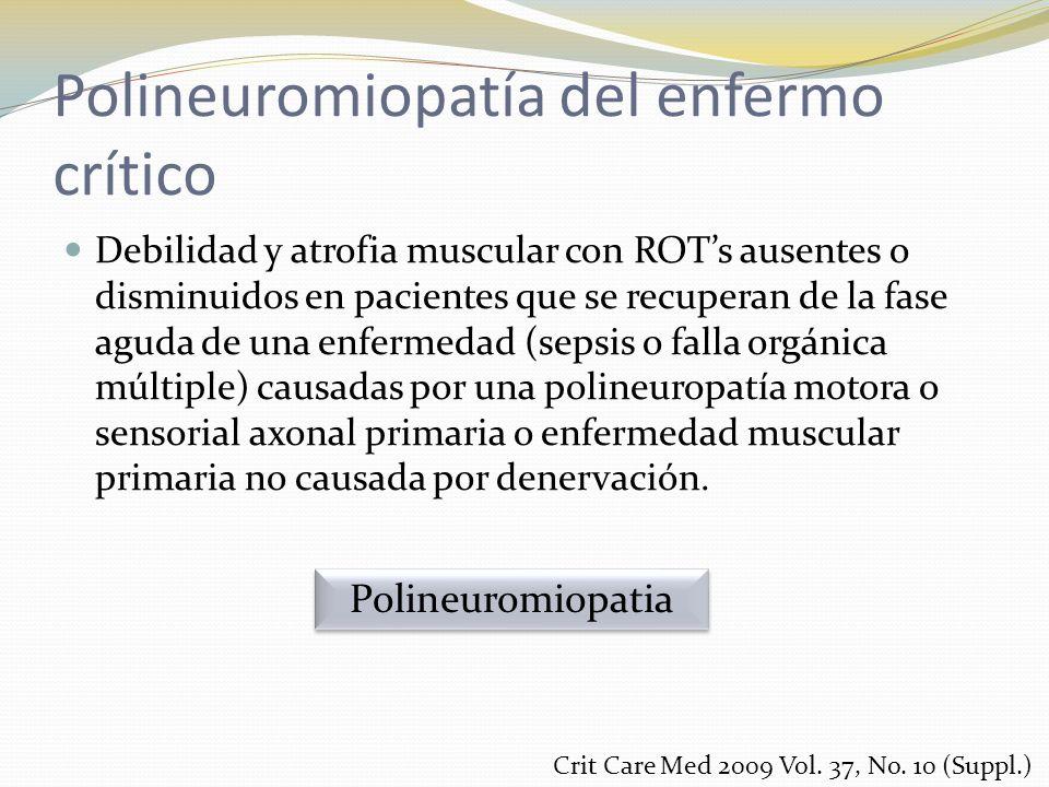 Polineuromiopatía del enfermo crítico Debilidad y atrofia muscular con ROTs ausentes o disminuidos en pacientes que se recuperan de la fase aguda de u