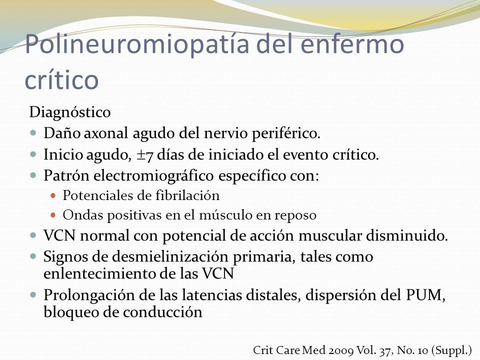 Polineuromiopatía del enfermo crítico Diagnóstico Daño axonal agudo del nervio periférico. Inicio agudo, 7 días de iniciado el evento crítico. Patrón