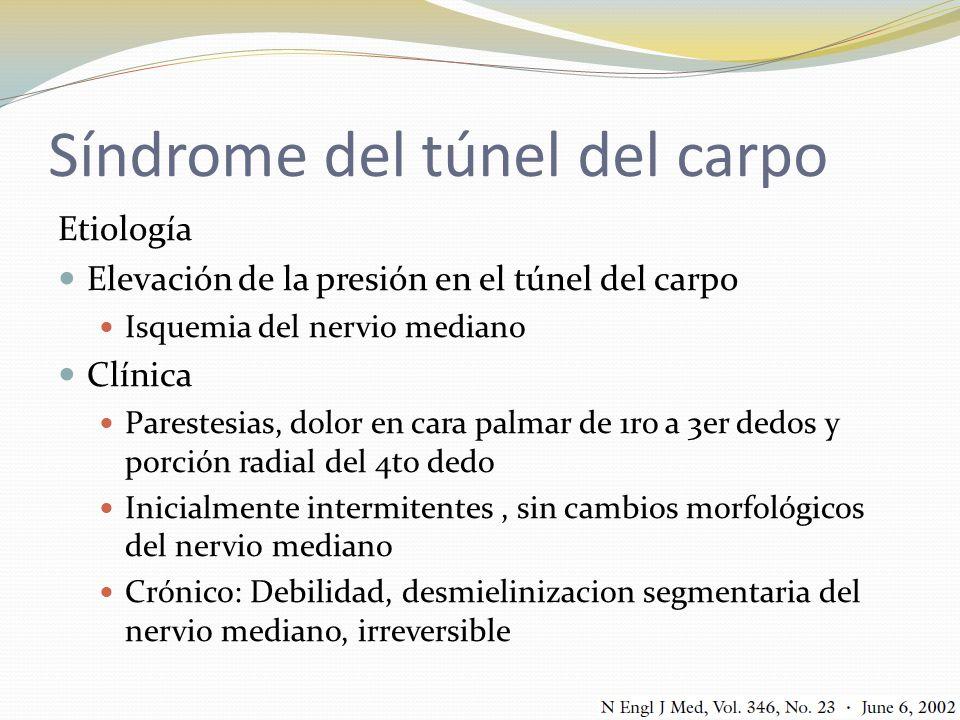 Síndrome del túnel del carpo Etiología Elevación de la presión en el túnel del carpo Isquemia del nervio mediano Clínica Parestesias, dolor en cara pa