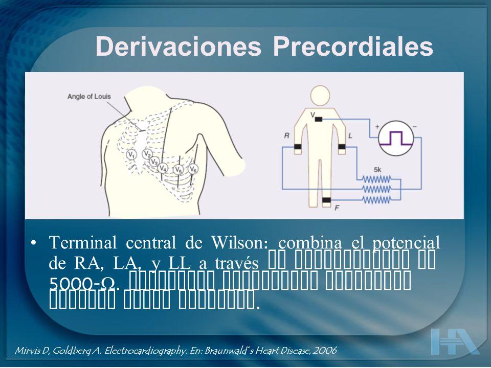 Derivaciones Precordiales Terminal central de Wilson : combina el potencial de RA, LA, y LL a través de resistencias de 5000-. Potencial resultante co