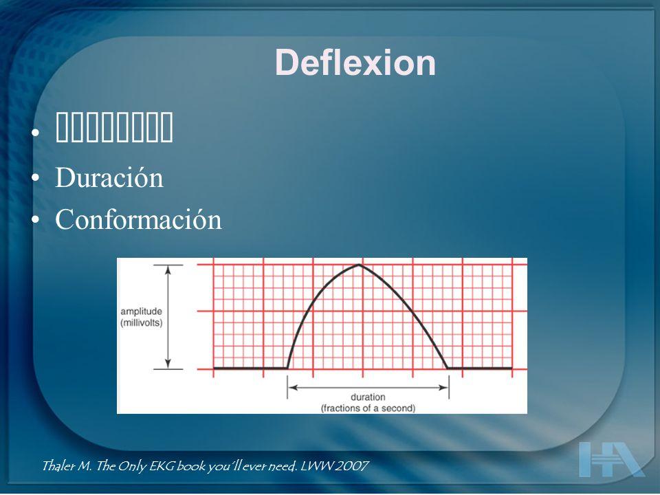 Deflexion Amplitud Duración Conformación Thaler M. The Only EKG book youll ever need. LWW 2007