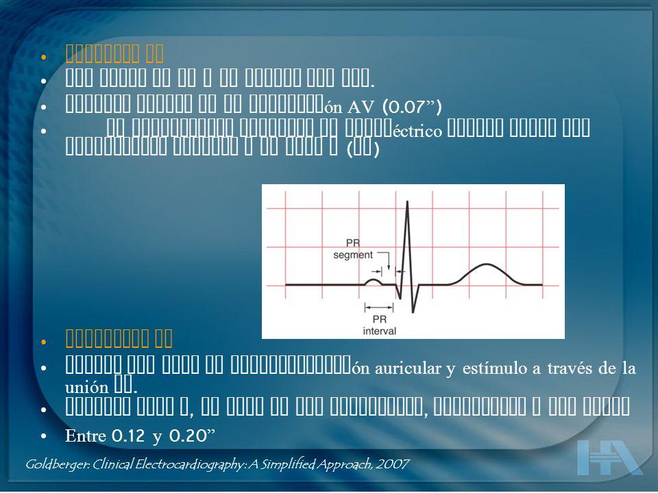 Segmento PR Del final de la P al inicio del QRS. Retardo normal en la conducción AV (0.07 ) En condiciones normales es isoeléctrico aunque puede ser l
