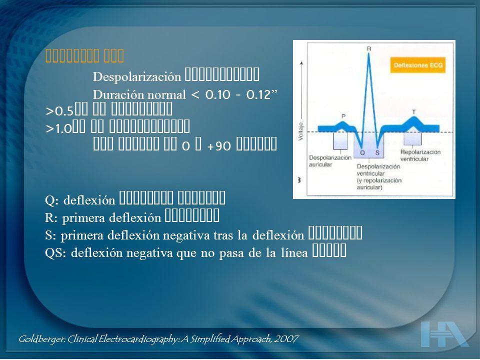Complejo QRS Despolarización ventricular Duración normal < 0.10 - 0.12 >0.5 mV en frontales >1.0 mV en precordiales Eje normal de 0 a +90 grados Q : d