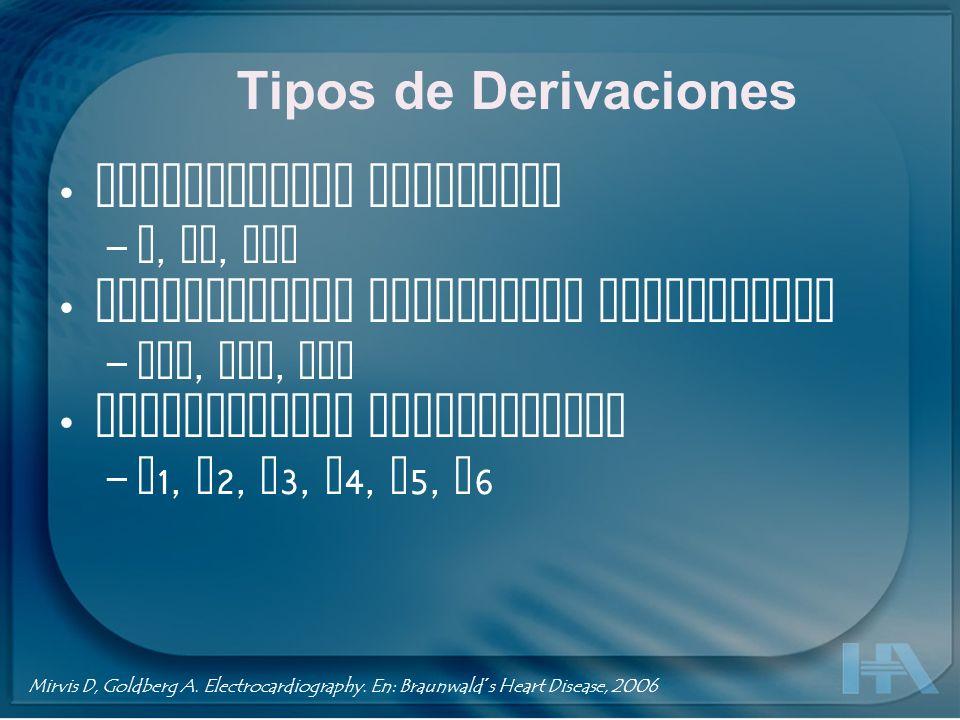 Tipos de Derivaciones Derivaciones bipolares – I, II, III Derivaciones unipolares modificadas – aVR, aVL, aVF Derivaciones precordiales – V 1, V 2, V