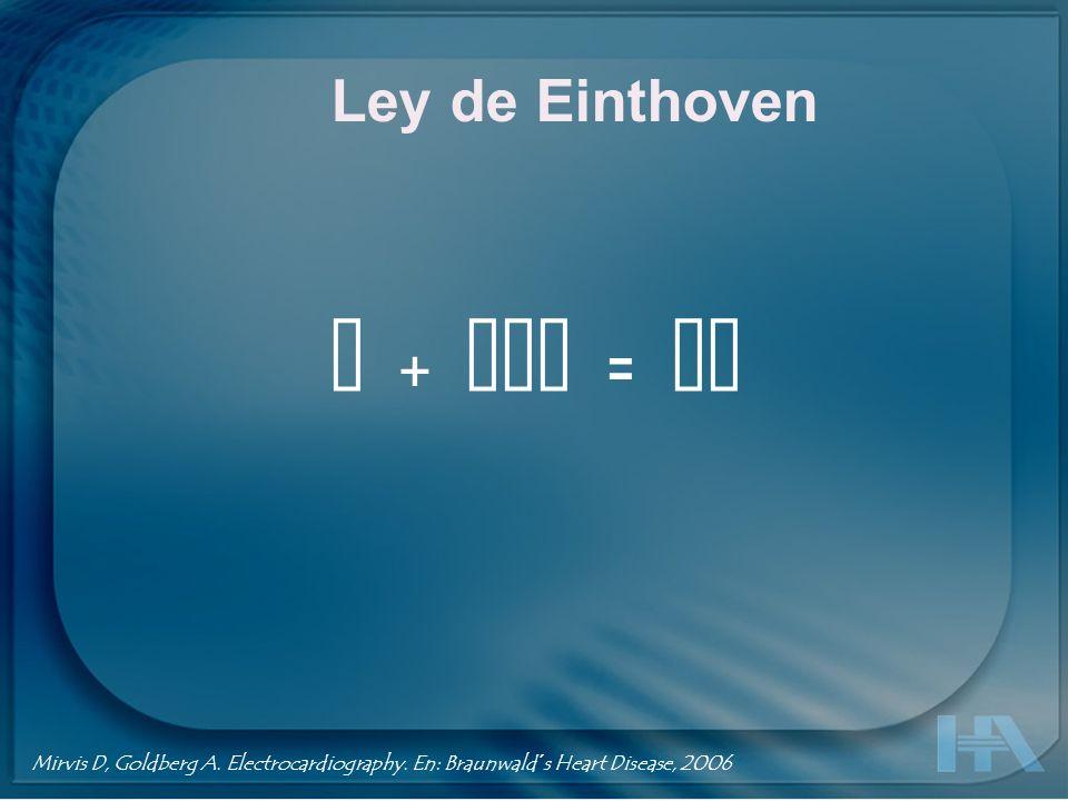 Ley de Einthoven I + III = II Mirvis D, Goldberg A. Electrocardiography. En: Braunwald´s Heart Disease, 2006