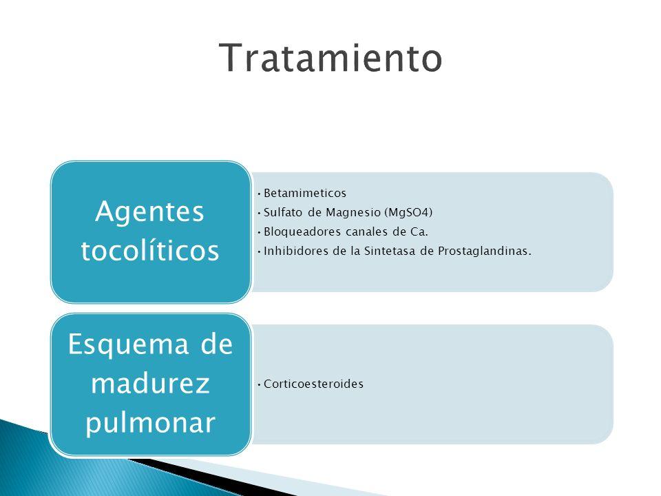 Betamimeticos Sulfato de Magnesio (MgSO4) Bloqueadores canales de Ca.