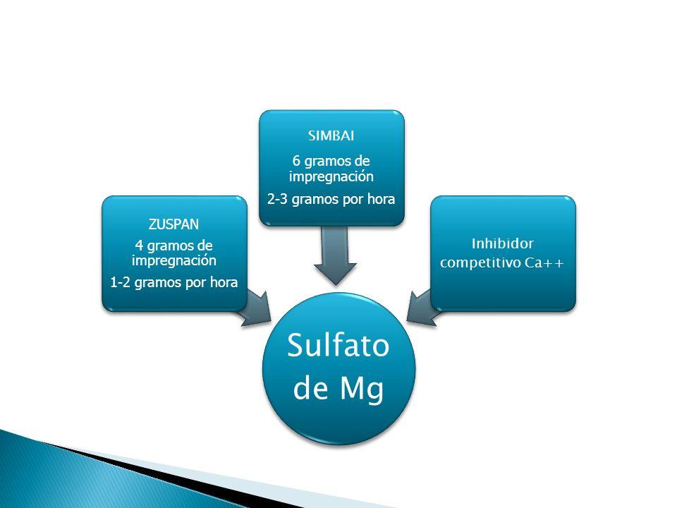Sulfato de Mg ZUSPAN 4 gramos de impregnación 1-2 gramos por hora SIMBAI 6 gramos de impregnación 2-3 gramos por hora Inhibidor competitivo Ca++
