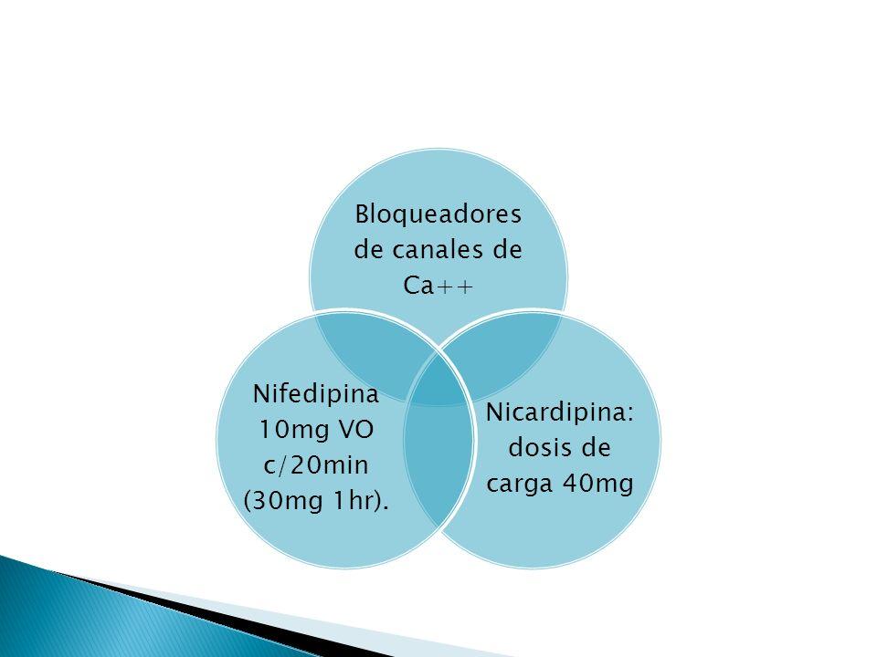 Bloqueadores de canales de Ca++ Nicardipina: dosis de carga 40mg Nifedipina 10mg VO c/20min (30mg 1hr).