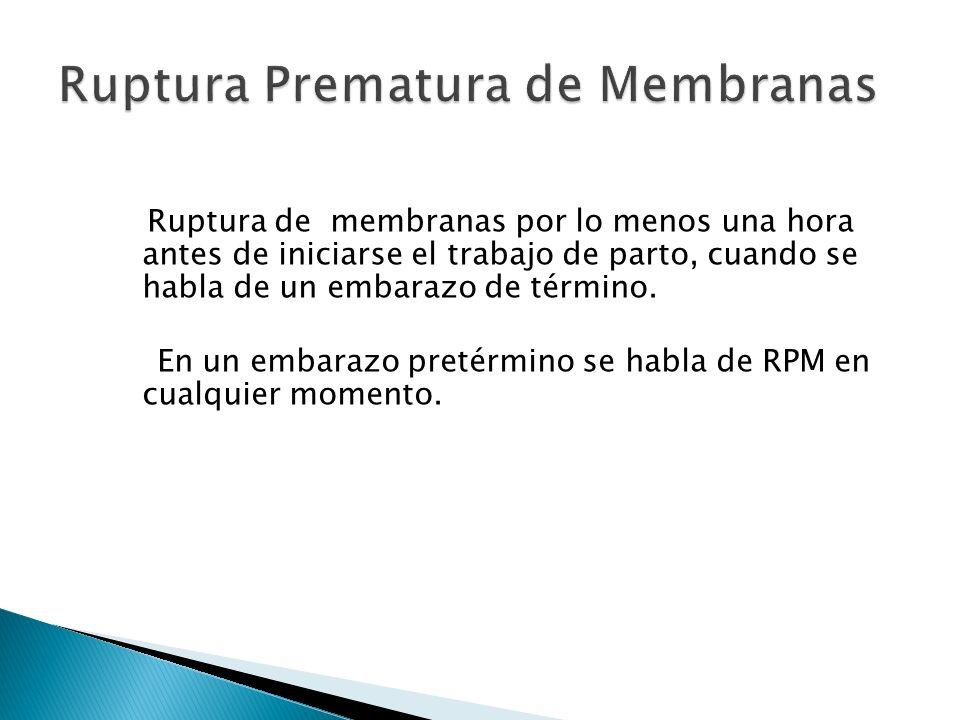 Ruptura de membranas por lo menos una hora antes de iniciarse el trabajo de parto, cuando se habla de un embarazo de término.