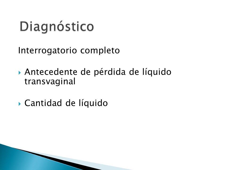 Interrogatorio completo Antecedente de pérdida de líquido transvaginal Cantidad de líquido