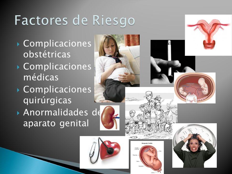 Complicaciones obstétricas Complicaciones médicas Complicaciones quirúrgicas Anormalidades del aparato genital
