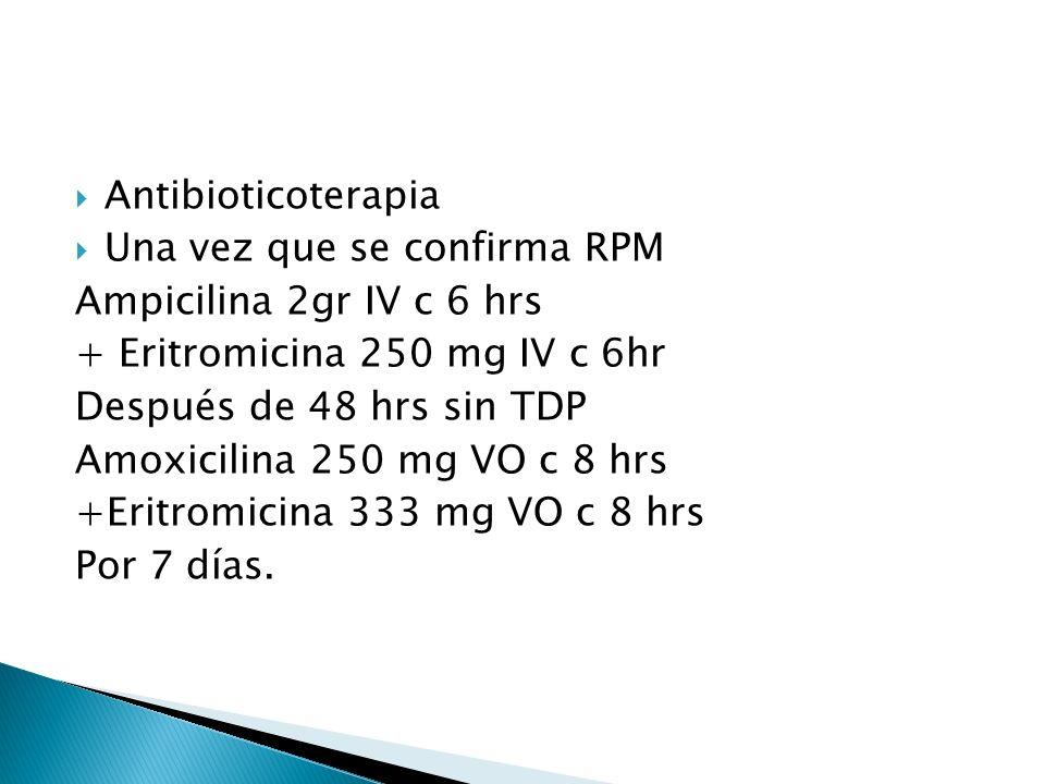 Una vez que se confirma RPM Ampicilina 2gr IV c 6 hrs + Eritromicina 250 mg IV c 6hr Después de 48 hrs sin TDP Amoxicilina 250 mg VO c 8 hrs +Eritromicina 333 mg VO c 8 hrs Por 7 días.
