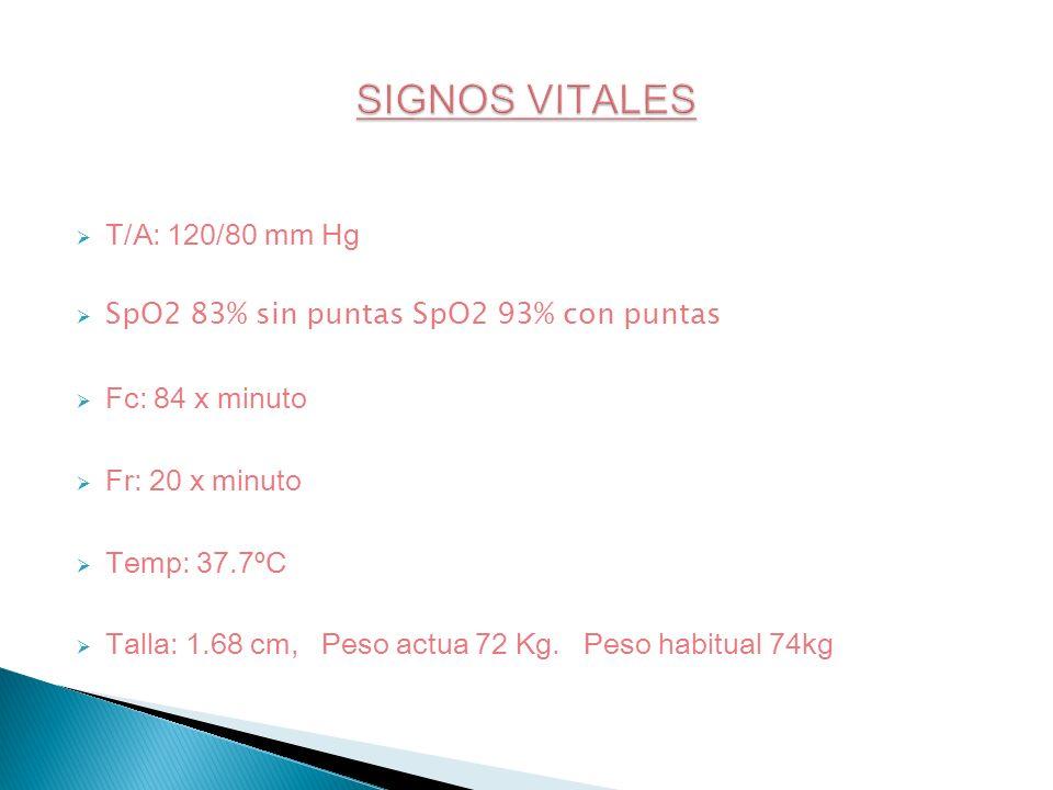 T/A: 120/80 mm Hg SpO2 83% sin puntas SpO2 93% con puntas Fc: 84 x minuto Fr: 20 x minuto Temp: 37.7ºC Talla: 1.68 cm, Peso actua 72 Kg. Peso habitual