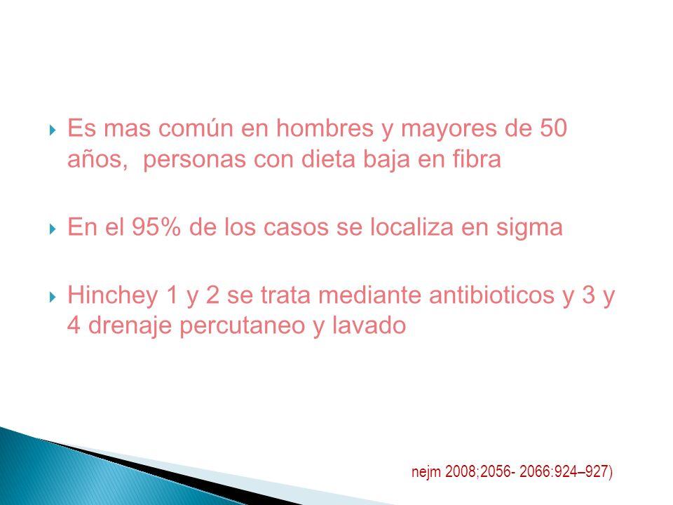 Es mas común en hombres y mayores de 50 años, personas con dieta baja en fibra En el 95% de los casos se localiza en sigma Hinchey 1 y 2 se trata medi