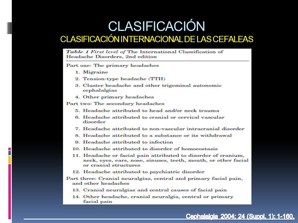 CLASIFICACIÓN CLASIFICACIÓN INTERNACIONAL DE LAS CEFALEAS