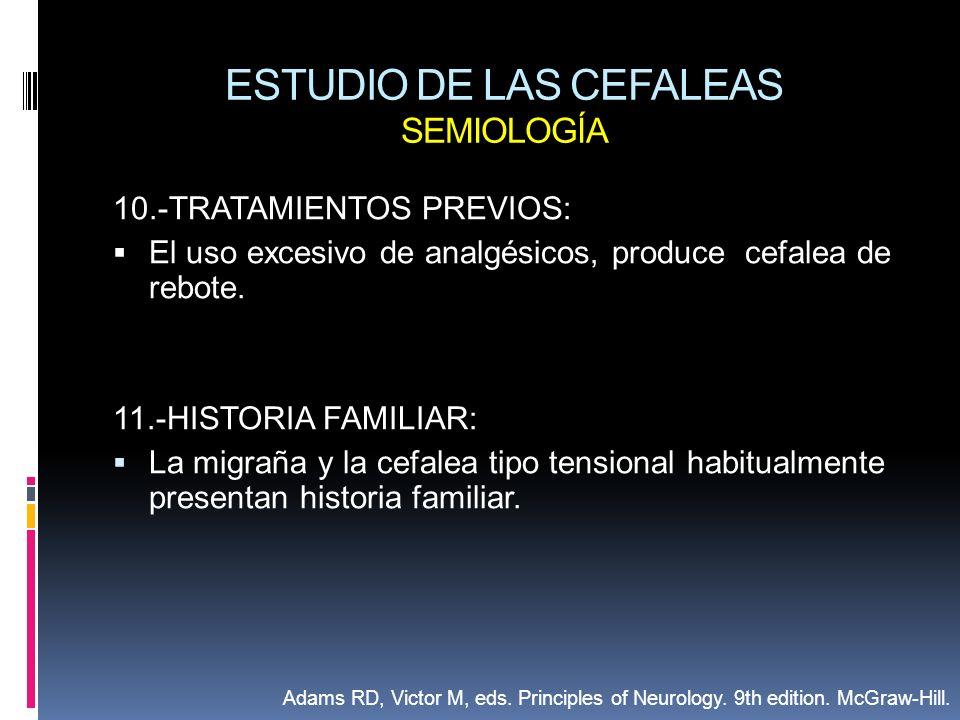 ESTUDIO DE LAS CEFALEAS SEMIOLOGÍA 10.-TRATAMIENTOS PREVIOS: El uso excesivo de analgésicos, produce cefalea de rebote. 11.-HISTORIA FAMILIAR: La migr