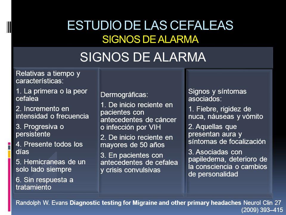 ESTUDIO DE LAS CEFALEAS SIGNOS DE ALARMA SIGNOS DE ALARMA Relativas a tiempo y características: 1. La primera o la peor cefalea 2. Incremento en inten