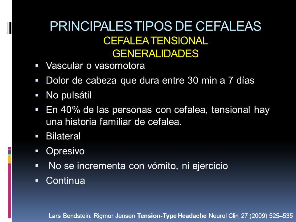 PRINCIPALES TIPOS DE CEFALEAS CEFALEA TENSIONAL GENERALIDADES Vascular o vasomotora Dolor de cabeza que dura entre 30 min a 7 días No pulsátil En 40%